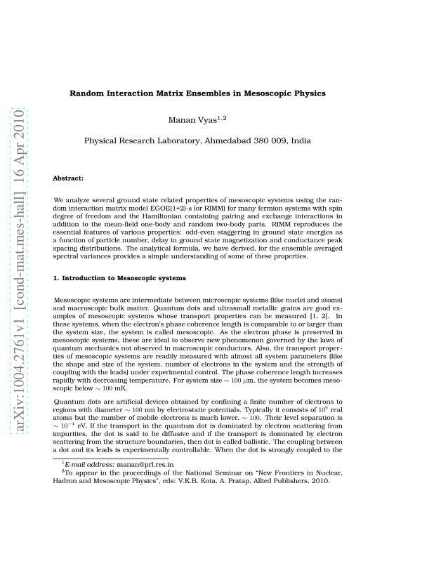 Manan Vyas - Random Interaction Matrix Ensembles in Mesoscopic Physics