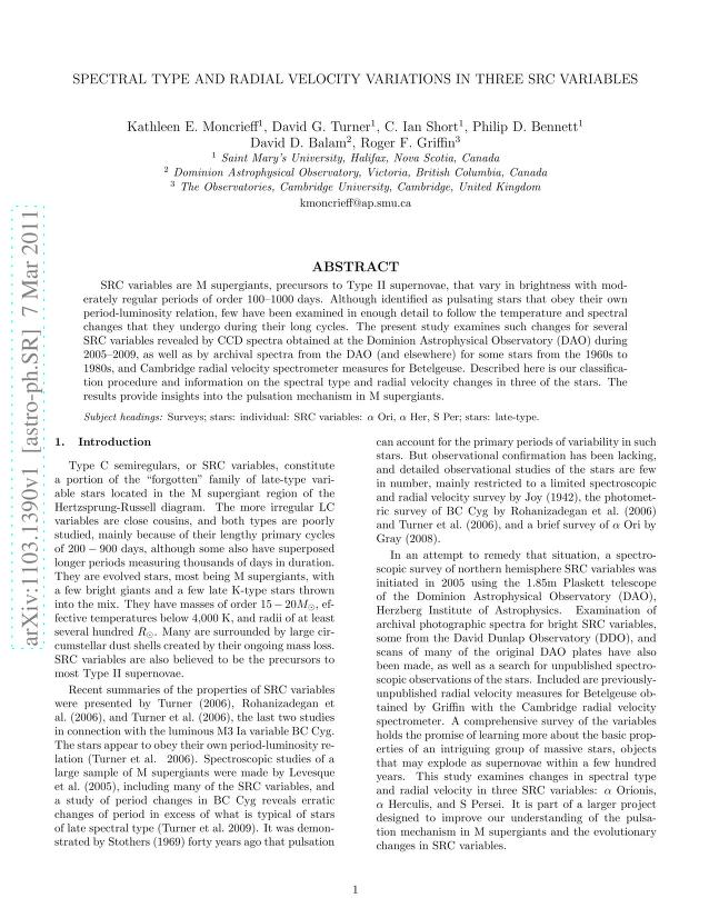Kathleen E. Moncrieff - Spectral Type and Radial Velocity Variations in Three SRC Variables