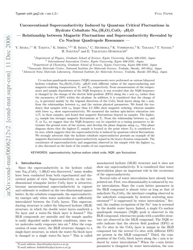 Y. Ihara - Unconventional Superconductivity Induced by Quantum Critical Fluctuations in Hydrate Cobaltate Na$_{x}$(H$_3$O)$_{z}$CoO$_{x}\cdot$ $y$H$_{2}$O -- Relationship between Magnetic Fluctuations and the Superconductivity Revealed by a Co Nuclear Quadrupole Resonance --