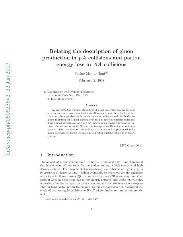 Yacine Mehtar-Tani - Relating the description of gluon production in pA collisions and parton energy loss in AA collisions
