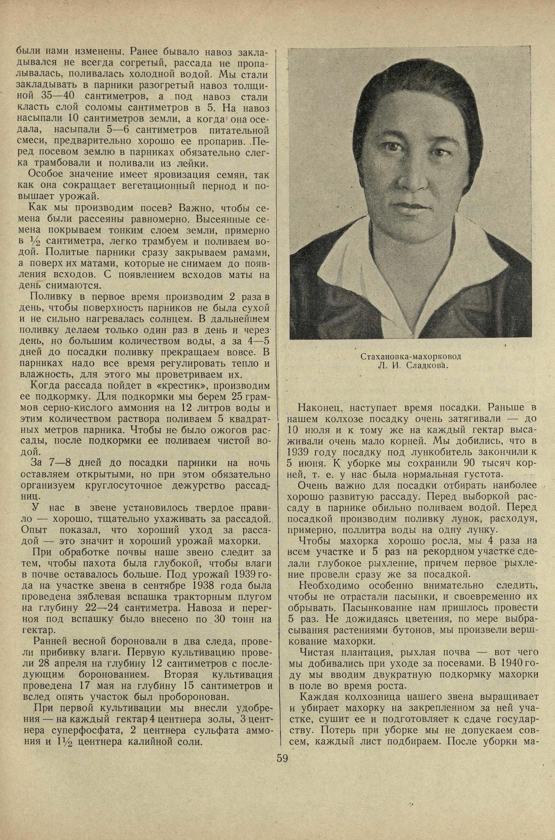 Стахановка Сладкова. Махорка Сибирская.