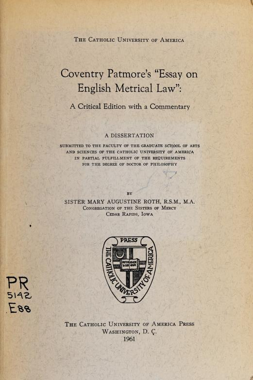 Essay on English metrical law by Coventry Kersey Dighton Patmore