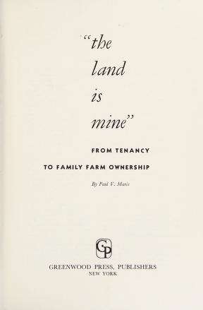 Cover of: The land is mine | Maris, Paul Vestal